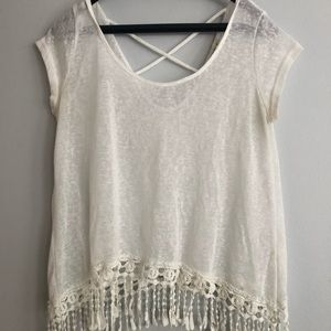 fringe white lightweight top